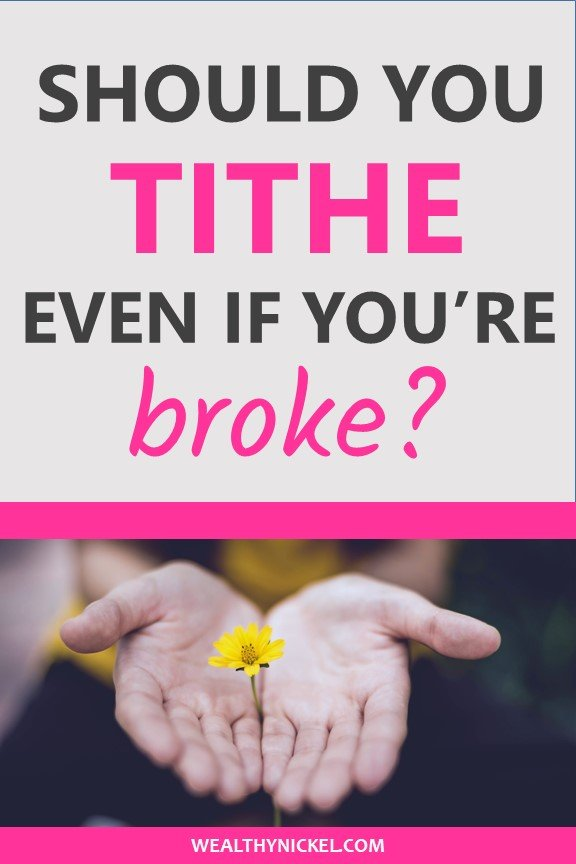 Should you be tithing and giving to charity when you are in debt or broke? Or should you tithe in good times and bad? Find out how giving should fit into your budget and personal finances. #tithing #tithe #giving #debt