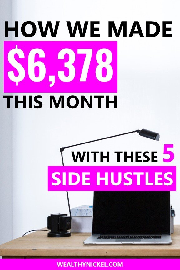 Here's how we made $6,378 in extra income on the side last month while working a full-time job. This income report will show you all the ways we make money through side hustles, and how you can too! #makemoney #extraincome #sidehustles #blogging #workfromhome #money #makemoneyonline #motivation #passiveincome