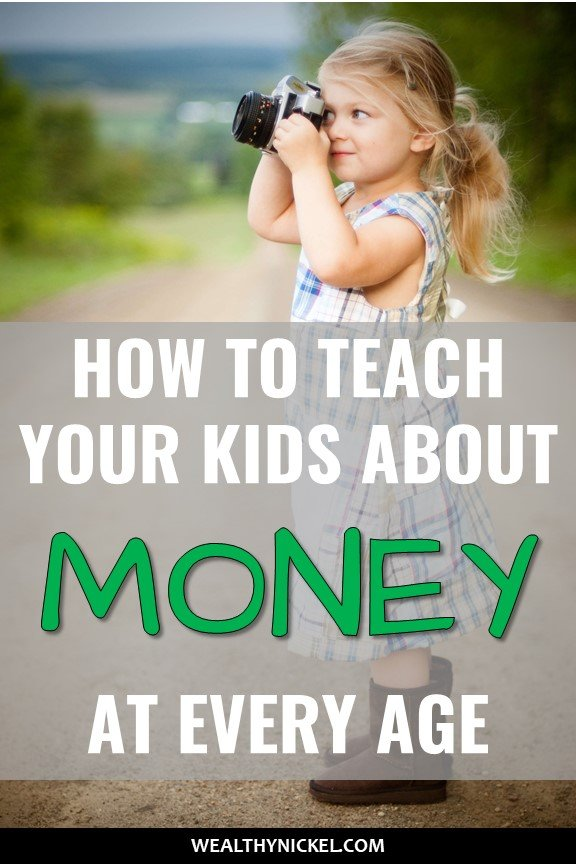 Teach your kids about money! This is one of the most important things you can do as a parent to prepare them for adulthood. These 5 simple tips to teach kids about money helped me immensely with specific activities you can do age by age from toddler to teenager! #familyfinance #parentingtips #personalfinance #kidsactivities #moneytips #piggybank