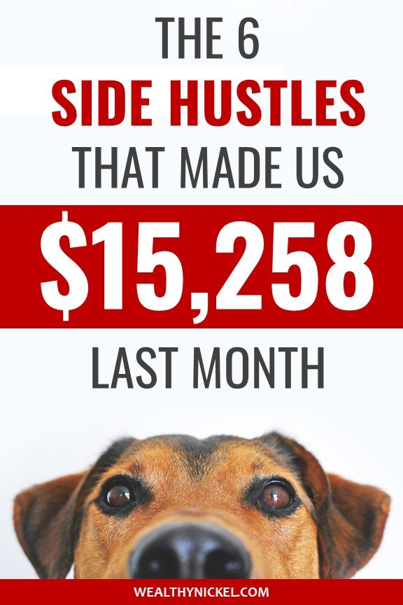 Extra income from side hustles pinterest image with dog